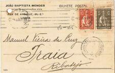 PORTUGAL - 1923 postcard 10 C. + 5 C. CERES. LISBOA to PRAIA (GOLLEGA)