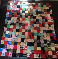 "Vintage Patchwork QUILT Blanket Handmade 91"" X 75"" Colorful Cowboys"