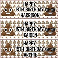 2 personalised birthday banner poo emoji children nursery kid party decoration