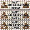 2 personalised birthday banner poo emoji children nursery kid party decoration