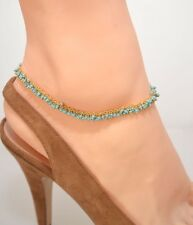 BEAUTIFUL GENUINE TURQUOISE BEADS 14KtGold Clad ANKLET ANKLE BRACELET 9 -12.5