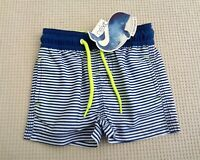 BNWTS NEXT Baby Boys Navy Blue & White Striped Swim Swimming Shorts 12-18 months