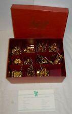 "Danbury Mint ""1994 Gold Ornaments, Partial Set Of 11 In Box"" Festive 23K, Euc!"