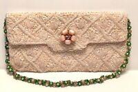 Evening Bag Pink Vintage Richere By Walborg Sequins Bead Strap Jewel Silk