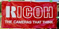 """Ricoh """"The Cameras That Think"""" Dealer Red Display Banner 48 x 24 Inches NICE"""