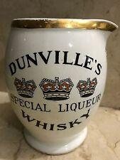 DUNVILLE'S SPECIAL LIQUEUR WHISKY ANTIQUE CERAMIC WHISKEY PUB JUG PITCHER 1910s