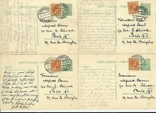 1927 x 4  LUXEMBOURG UP-RATED POSTAL STATIONERY 20c CARDS TO PARIS FRANCE