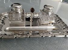 SOLID SILVER INKWELL DESK STAND PEN AND TRAY.