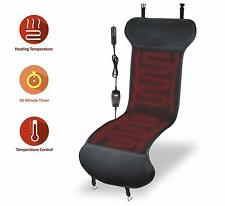 Zone Tech Car Heated Leather Seat Cover Cushion 45 Minute Shutoff Safety Timer