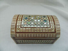 "Egyptian Inlaid Treasure Chess Mother of Pearl Handmade Jewelry Box 5.5"" #462"