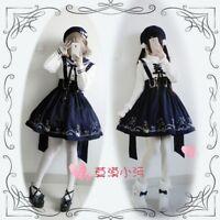 Cute Japanese Style JK Suspenders Sleeveless Dress Lolita Empire Waist  OP Dress