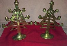 """SET 9.5"""" BRASS CHRISTMAS TREE SHAPED CANDLE CANDLESTICK HOLDERS FOR MINI CANDLES"""