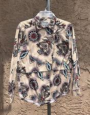 vtg Wrangler western Southwest shirt M L cowgirl ranch rodeo Tan Blue purple