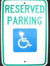 """Handicap Reserved Parking Sign Aluminum 12"""" x 18"""" North Carolina Approved New"""