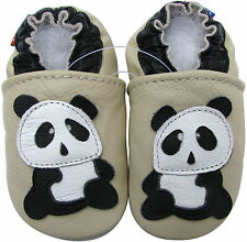 carozoo panda cream 2-3y soft sole leather toddler shoes