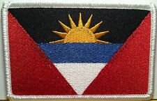 ANTIGUA FLAG Embroidered Iron-On PATCH Military Tactical EMBLEM  White Border