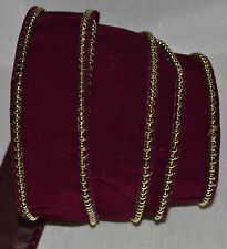 "Wired Ribbon~Christmas Burgundy Velvet~Gold Bead Edge~Holiday~1.5""~Wreath~Bow"