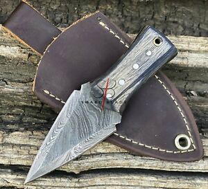 "4.5"" Hand Forged Damascus Steel Mini Dagger Neck Knife ""Black Wood Handle"""