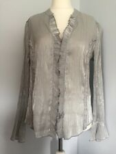 Women's Per Una at M&S - Silver Grey Sheer Pin Tuck Blouse with Ruffles Size 16