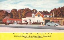 HILTON MOTEL Heber, Utah Roadside Gas Station ca 1940s Vintage Linen Postcard
