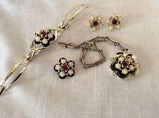 Vintage Red Rhinestone & Seed Pearls Grand Parure Jewelry Set