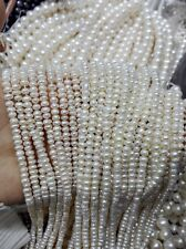 3-4mm white Pearl Natural Freshwater Pearl 35cm one Strands Loose Bead 15''