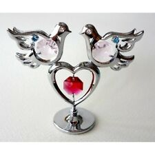 Crystocraft 2 DOVES + HEART Silver Ornament + Strass Swarovski Crystal Elements