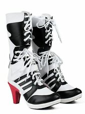 Harley Quinn DC Suicide Squad Boots Heel Shoes Cosplay Halloween Cosplay Costume