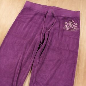 vtg y2k Juicy Couture low rise terry cloth wide leg track pants LARGE logo 00s