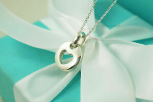 """Tiffany & Co. Stencil Heart Pendant Necklace 17"""" READ DESCRIPTION (#F361)"""