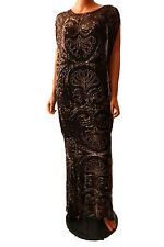 Haute Hippie Black Beaded Embellished Silk Gown Long Maxi Dress  Size S