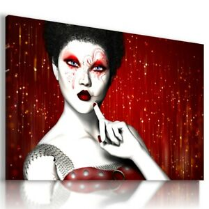 WOMAN FACE WHITE MASK TATTOO MAKE UP CANVAS WALL ART  AB687 UNFRAMED-ROLLED
