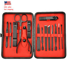 15Pcs Women Men Manicure Pedicure Set Finger Nail Clippers Scissors Grooming Kit