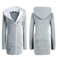 Femme Surdimensionné extérieur manteau sweat à capuche sweatshirt polaire long
