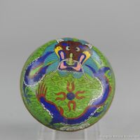 Perfect Antique Chinese 19th c Dragon Cloissone Box Qing Period Bronze