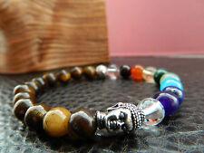 7 Chakra Balancing Buddha Bracelet. Healing.Yoga. Meditation.Tiger's Eye.Unisex