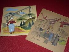 [EMILE DANCRE 1901-1977] AUVERGNE / GOUACHE ORIGINALE Signée 1930 Pont Art Deco