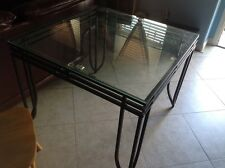 "Black iron square dining table with glass top ( 38""x 38""x 29.5"")"