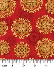 Fat Quarter Father Frost Christmas Stars Red Cotton Quilting Fabric-Benartex