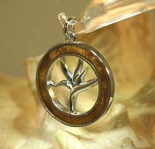 Hawaiian Rhodium On Brass Genuine Inlaid Koa Wood Bird of Paradise Round Pendant