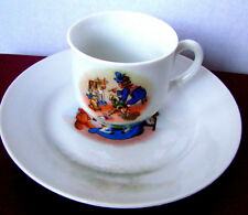 Antique Child's Tea Cup and Saucer or Demi-Tasse Set, Nursery Scene Cup & Saucer