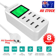 8 Port Smart AC USB Charger Wall LCD iPad iPhone Android Tablet 5V/8A 40W Plug