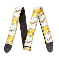 "Fender 2"" Inch Monogrammed White Brown Yellow Adjustable Electric Guitar Strap"