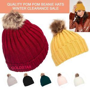 Women Baby Girls Winter Warm Faux Fur Pom Pom Bobble Knit Beanie Hat Cap OFFER