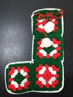 Vintage Hand Crochet Stocking granny squares retro, green, red,white, christmas