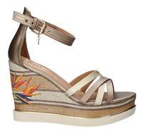 WRANGLER TROPICAL KELLY GOLD scarpe sandali donna pelle zeppa plateau tacco