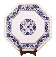 """14""""x14"""" Marble Coffee Table Top Lapis Marquetry Floral Inlay Garden Decor H1702"""