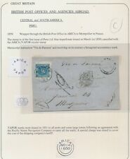 More details for 1859 peru cover to france 1d blue british p.o arica vapor pacific steam company