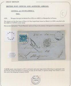 1859 PERU COVER TO FRANCE 1d BLUE BRITISH P.O ARICA VAPOR PACIFIC STEAM COMPANY
