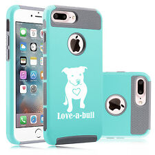 For iPhone SE 5 6 6s 7 Plus Dual Shockproof Hard Case Cover Love-a-bull Pitbull